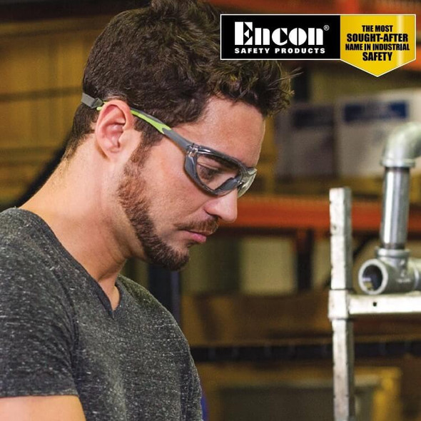 Encon Veratti Primo Foam-Padded Safety Glasses/Goggles with Gray/Green Frame and Clear Anti-Fog Lens Worn