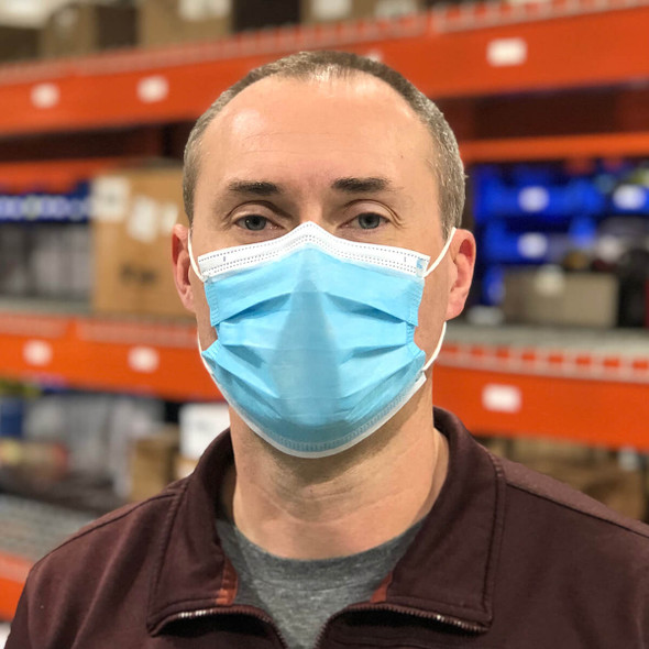Disposable 3-Ply Face Mask FDA-Registered SM100 - Being Worn