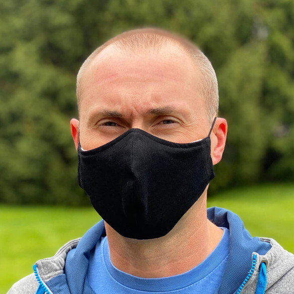 Cloth Face Mask Washable & Reusable 100% Cotton With Adjustable Ear Loops - being worn, front view
