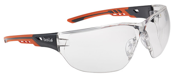 Bolle Ness Plus Safety Glasses with Orange/Gray Temples and Clear Platinum Anti-Fog Lens
