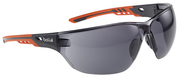 Bolle Ness Plus Safety Glasses with Orange/Gray Temples and Smoke Platinum Anti-Fog Lens