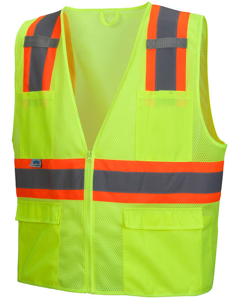 Pyramex RVZ2310 Type R Class 2 Two-Tone Surveyor Safety Vest - Hi-Vis Lime - Front