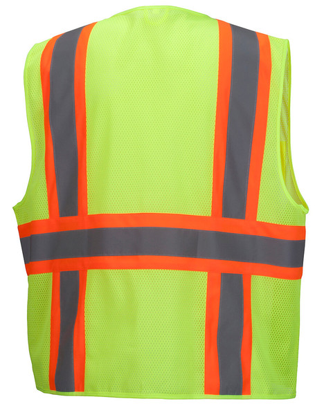 Pyramex RVZ2310 Type R Class 2 Two-Tone Surveyor Safety Vest - Hi-Vis Lime - Back