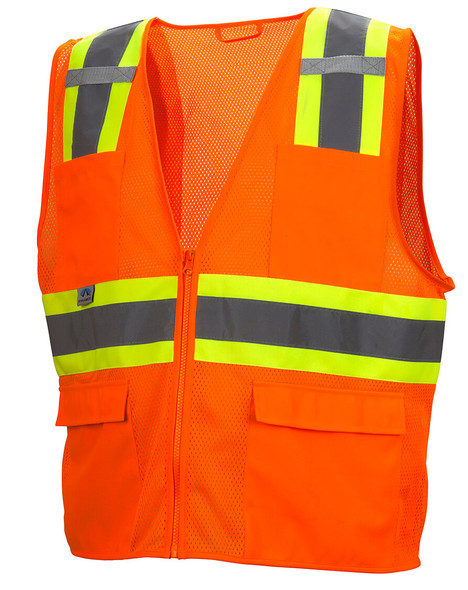 Pyramex RVZ2310 Type R Class 2 Two-Tone Surveyor Safety Vest - Hi-Vis Orange - Front
