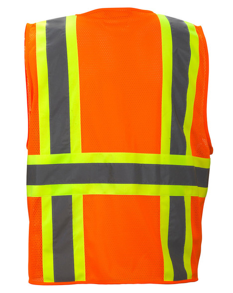 Pyramex RVZ2310 Type R Class 2 Two-Tone Surveyor Safety Vest - Hi-Vis Orange - Back