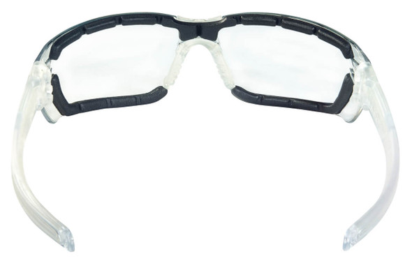 Crews HK3 Safety Glasses with Foam-Lined Clear Frame and Clear MAX6 Anti-Fog Lens - Back View