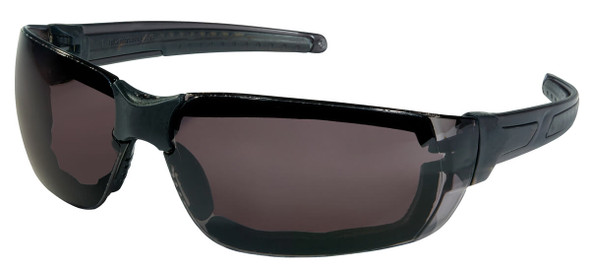 Crews HK3 Safety Glasses with Foam-Lined Black Frame and Gray MAX6 Anti-Fog Lens