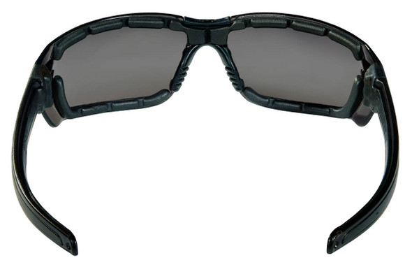 Crews HK3 Safety Glasses with Foam-Lined Black Frame and Gray MAX6 Anti-Fog Lens - Back View