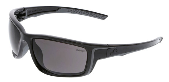 Crews Swagger SR4 Safety Glasses with Black Frame and Gray Lens