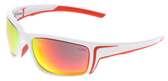 Crews Swagger SR4 Safety Glasses with White Frame and Fire Mirror Lens