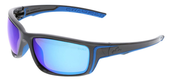 Crews Swagger SR4 Safety Glasses with Gun Metal Frame and Blue Diamond Mirror Lens SR438B