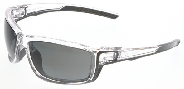 Crews Swagger SR4 Safety Glasses with Clear Frame and Polarized Black Mirror MAX36 Anti-Fog Lens
