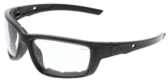 Crews Swagger SR5 Foam-Lined Safety Glasses with Black Frame and Clear Anti-Fog Lens