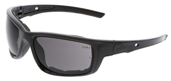 Crews Swagger SR5 Foam-Lined Safety Glasses with Black Frame and Gray Anti-Fog Lens