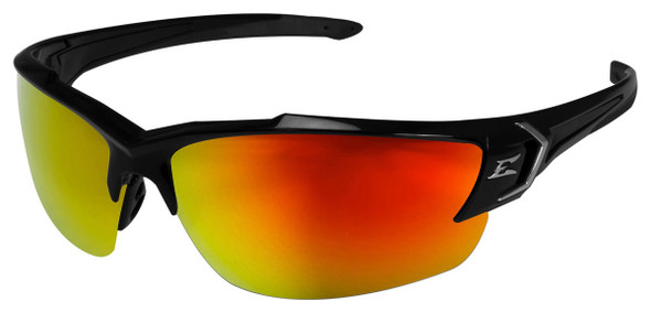 Edge Khor G2 Safety Glasses with Black Frame and Aqua Precision Red Mirror Lens