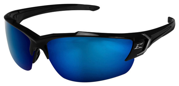 Edge Khor G2 Safety Glasses with Black Frame and Polarized Aqua Precision Blue Mirror Lens