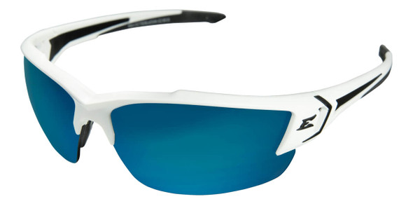 Edge Khor G2 Safety Glasses with White Frame and  Polarized Aqua Precision Blue Mirror Lens