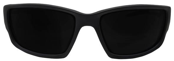 Edge Kazbek Safety Glasses with Black Frame and Smoke Vapor Shield Lens - Front View