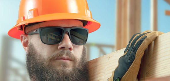 Lift Safety Banshee Safety Glasses - Construction Worker Wearing Banshee Safety Glasses