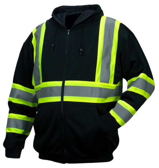 Pyramex RSZH3411 Type 0 Class 1 Black Reflective Premium Zipper Sweatshirt - Front