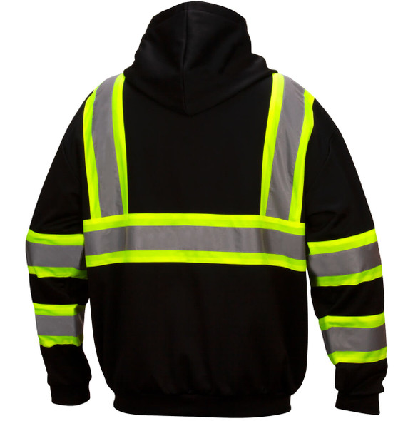 Pyramex RSZH3411 Type 0 Class 1 Black Reflective Premium Zipper Sweatshirt - Back