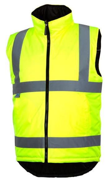 Pyramex RWVZ4510 Type R Class 2 Reversible Insulated Vest Hi-Vis Lime - Front