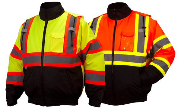Pyramex RCJ32 Type R Class 3 X-Back Two-Tone Black Bottom Bomber Jacket - Hi-Viz Lime & Hi-Viz Orange