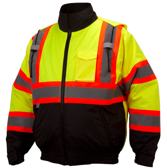 Pyramex RCJ32 Type R Class 3 X-Back Two-Tone Black Bottom Bomber Jacket - Hi-Viz Lime Front