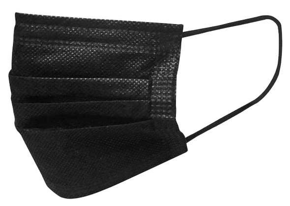 3-Ply Face Mask, ASTM Level 1, Black with Earloops FDA-Registered (50 Pack)