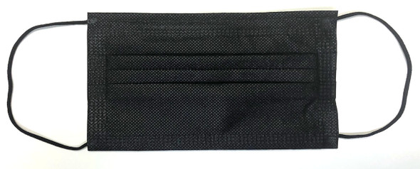 3-Ply Face Mask, ASTM Level 1, Black with Earloops FDA-Registered (50 Pack) - Front View