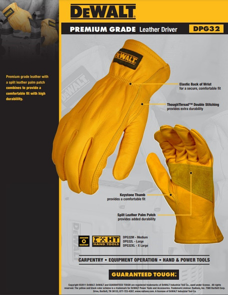 DeWalt DPG32 Premium Grade Leather Driver Gloves Key Features