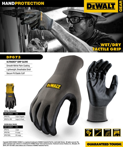DeWalt DPG73 Ultradex Nitrile Grip Gloves Features