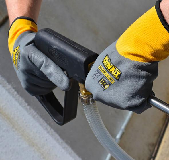 DeWalt DPG35 Full Dip Water-Resistant Breathable Work Glove - In Use 1
