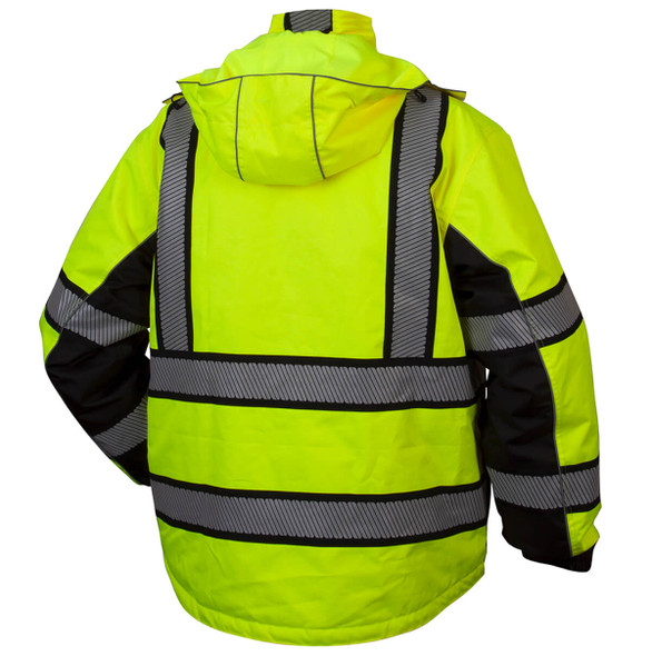 Pyramex RPB3610 Type R Class 3 Waterproof Multi-Layer Parka Hi-Vis Lime - Back