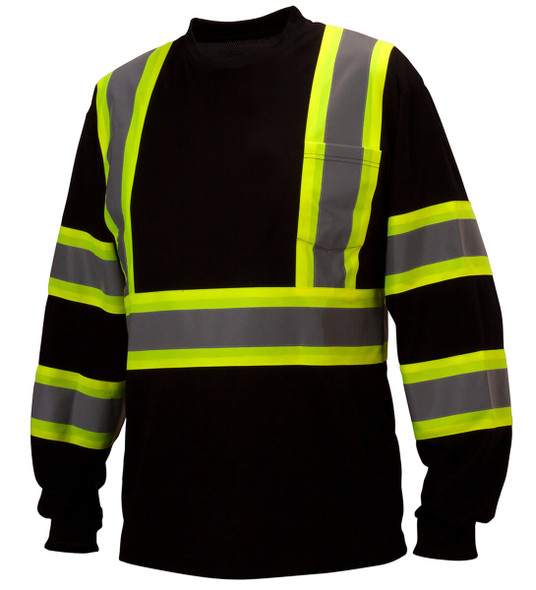 Pyramex RCLTS31 Type 0 Class 1 Black Hi-Vis Long Sleeve Safety T-Shirt