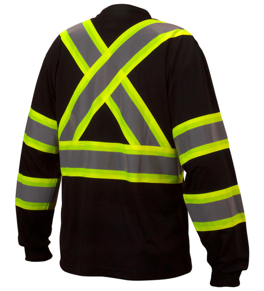Pyramex RCLTS31 Type 0 Class 1 Black Hi-Vis Long Sleeve Safety T-Shirt - Back