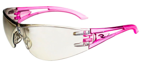 Radians Optima Safety Glasses with Pink Frame and Indoor-Outdoor Lens