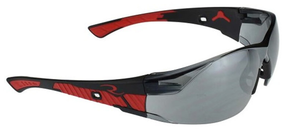 Radians Obliterator Safety Glasses with Black/Red Frame and Silver Mirror Lens