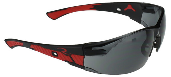 Radians Obliterator Safety Glasses with Black/Red Frame and Smoke Lens