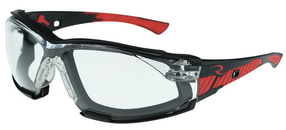 Radians Obliterator Foam-Lined Safety Glasses with Black/Red Frame and Clear IQUITY Anti-Fog Lens - with Foam-Lined Insert
