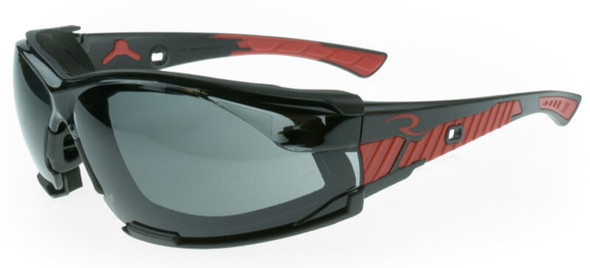 Radians Obliterator Foam-Lined Safety Glasses with Black/Red Frame and Smoke IQUITY Anti-Fog Lens - with Foam-Lined Insert