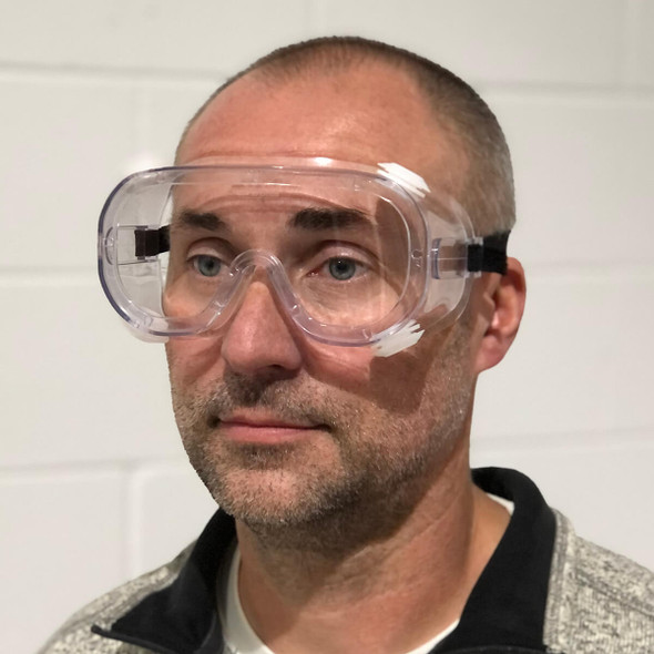 SGUSA Indirect-Vent Splash Goggles with Clear Anti-Fog Lens - In Use