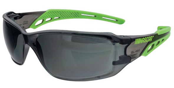 Encon NASCAR Brio Safety Glasses with Green Frame and Gray Lens