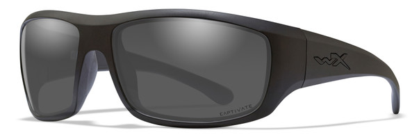 Wiley X Omega Safety Sunglasses Matte Black Frame Captivate Polarized Grey Lens ACOME08
