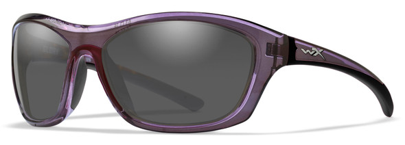 Wiley X Glory Safety Sunglasses with Dark Crystal Purple Frame and Smoke Grey Lens
