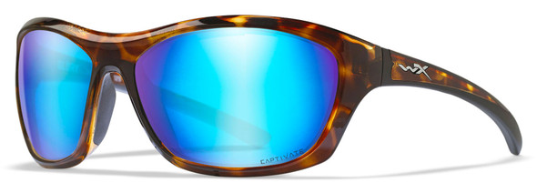 Wiley X Glory Safety Sunglasses with Gloss Demi Frame and Captivate Polarized Blue Mirror Lens