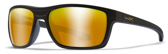 Wiley X Kingpin Safety Sunglasses with Matte Black Frame and Polarized Venice Gold Mirror Lens