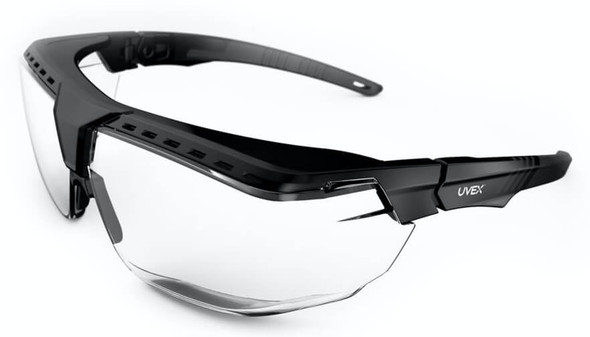 Uvex Avatar OTG Safety Glasses with Black/Black Frame and Clear Lens