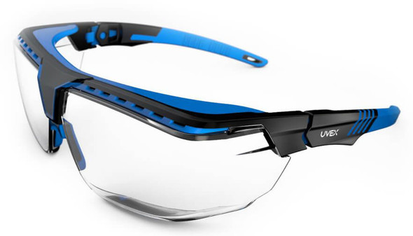 Uvex Avatar OTG Safety Glasses with Black/Blue Frame and Clear Anti-Reflective Lens