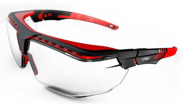 Uvex Avatar OTG Safety Glasses with Black/Red Frame and Clear Lens